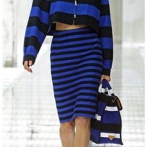 LOFT stretch pencil skirt blue black stripe XS